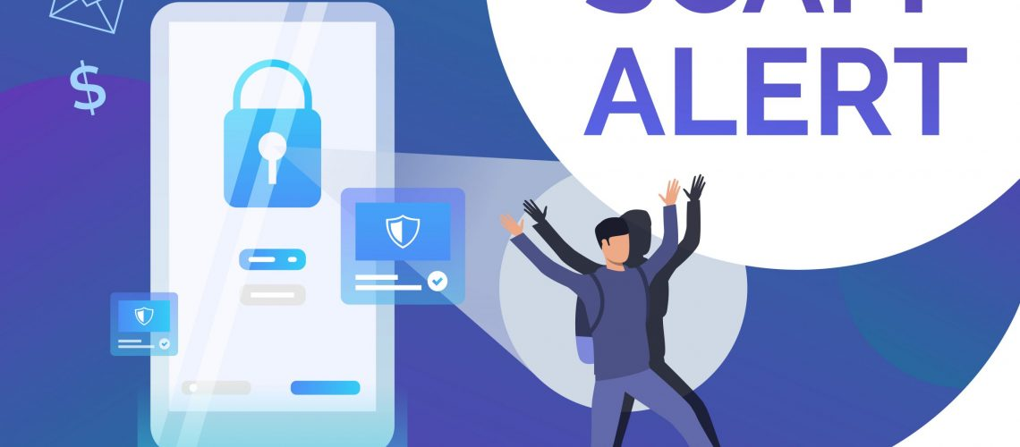 Scam alert poster template. Hacker keeping hands up. Cybercrime failure concept. Vector illustration can be used for presentation, poster, landing page