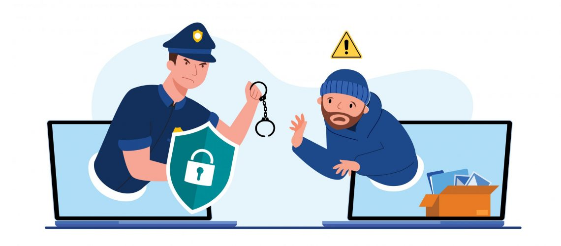 The police man with handcuffs to catch the thief on a computer screen, Abstract security protection digital data with thefts data,  data security concept, isolated flat vector illustration