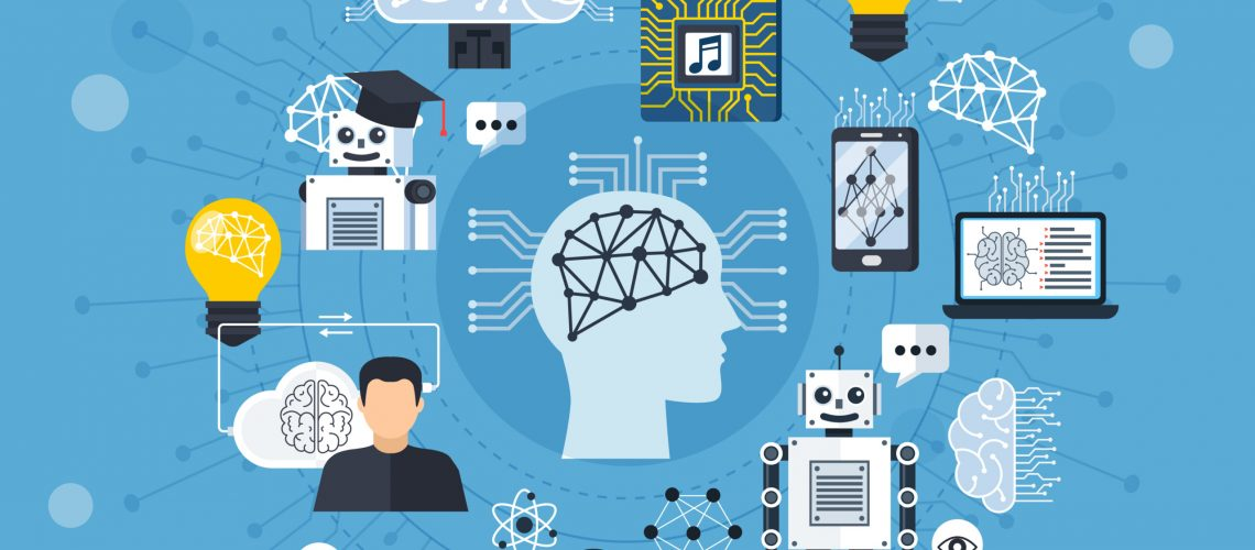 Neural meshes design concept with human brain deep learning image recognition robots icons flat vector illustration