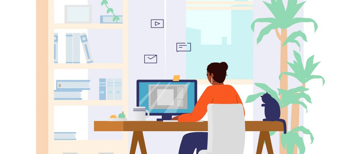 Afro American Woman Working At Computer From Home Back View. Home Office Interior. Freelancer At Work. Flat Vector Illustration.